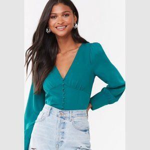 💚NWT Elegant Puff Sleeve Button Up Teal Blouse